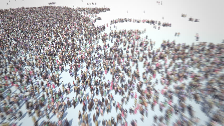 Russian People. Thousands of people formed Map of Russia. Russians. Crowd flight over. Motion Blur. Camera zoom out.
