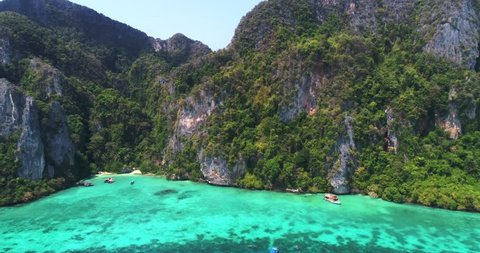 Flying to a little Bay on Ko Phi Phi Don, Phi Phi Islands, Andaman Sea, Thailand