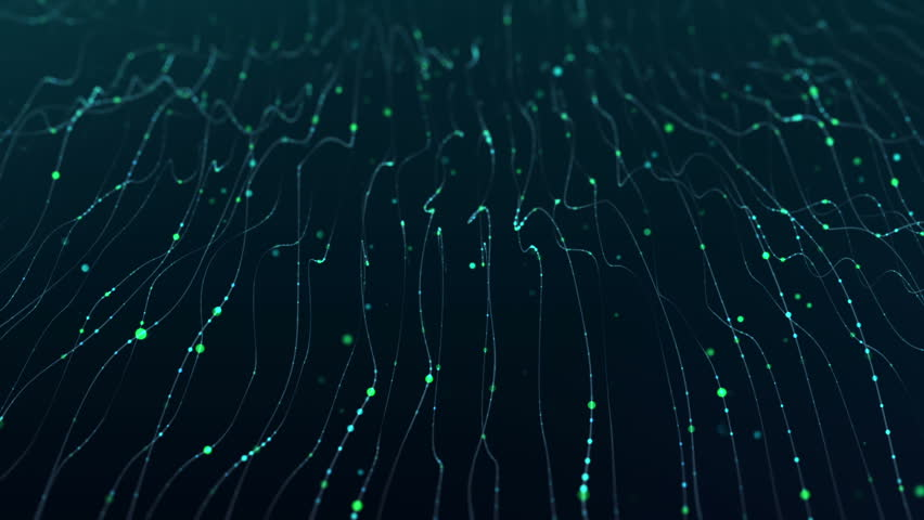 Abstract background with waves and flicker particles on waving stripes. Animation of seamless loop.