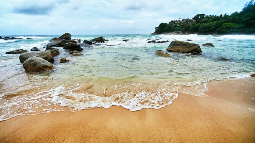 1920x1080 hidef, hdv - Sea surf in a tranquil tropical bay. Thailand, Phuket. #2525855