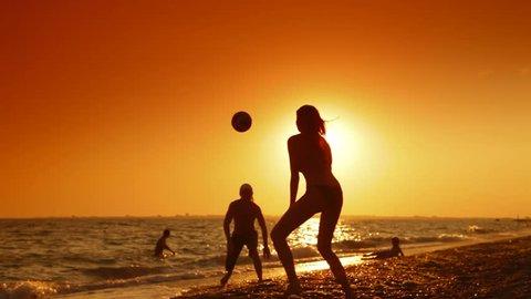 Summer Beach Fun at Sunset