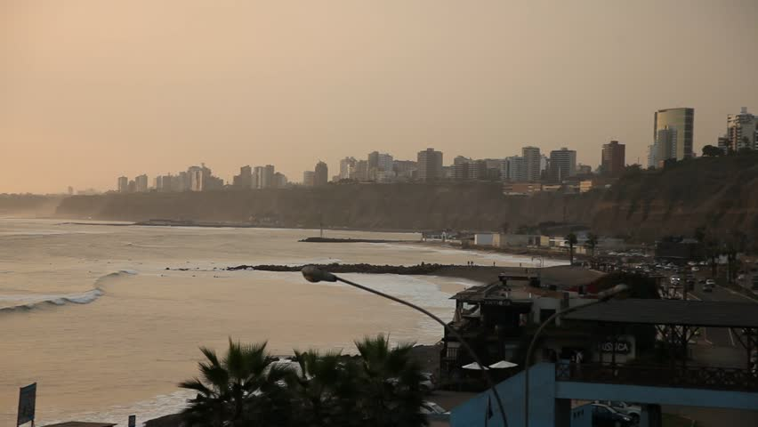 video footage of the Skyline of the metropolis of Lima, Peru, South america. With the pacific ocean. June 2012.