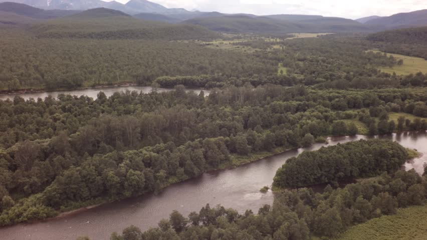 River Zhupanova. Kronotsky Nature Reserve on Kamchatka Peninsula. View from helicopter stock footage video   Shutterstock HD Video #25292441