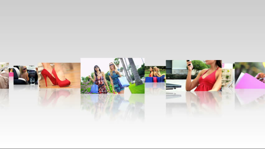 Montage 3D tablet images female Caucasian, Asian and African Americans spending healthy time shopping together