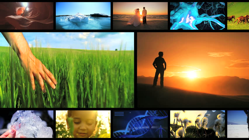 Montage of lifestyle achievements and environmental locations around the globe