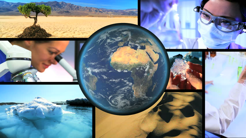 Montage images scientific research solve natural danger global warming