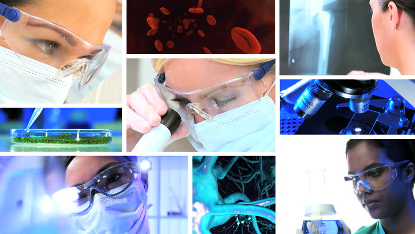 Montage images medical researchers using laboratory equipment with 3D computer generated graphics