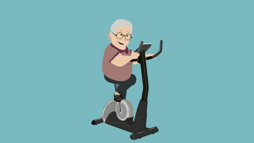 Cartoon Characters Exercising : Colored cartoon grandmother rides a bicycle from left to