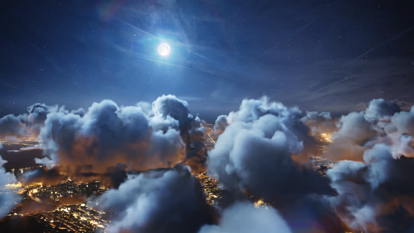 Flying over the deep night timelapse clouds with moon light. Seamlessly looped animation. Flight through moving cloudscape over night city lights. Perfect for cinema, background, digital composition. | Shutterstock HD Video #25406702