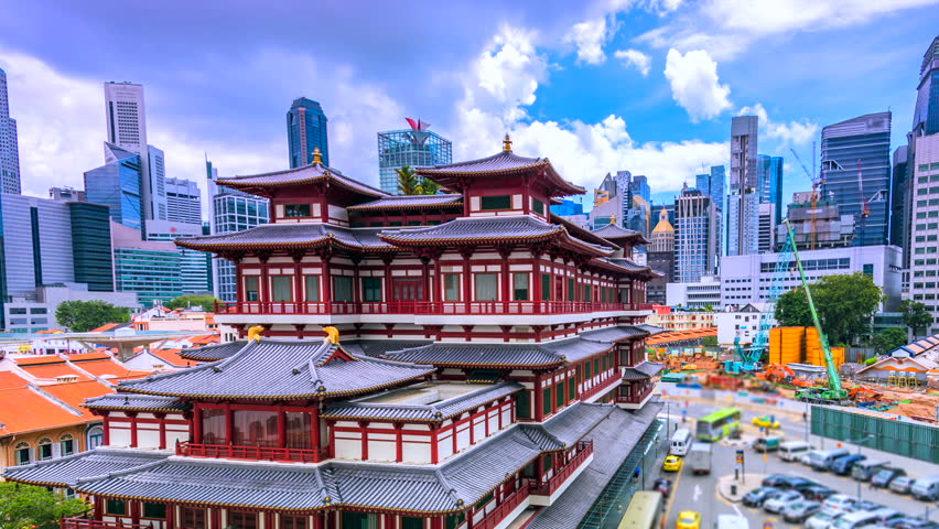 4K.Time lapse Buddha Tooth Relic, Singapore, Old Chinatown district of Singapore