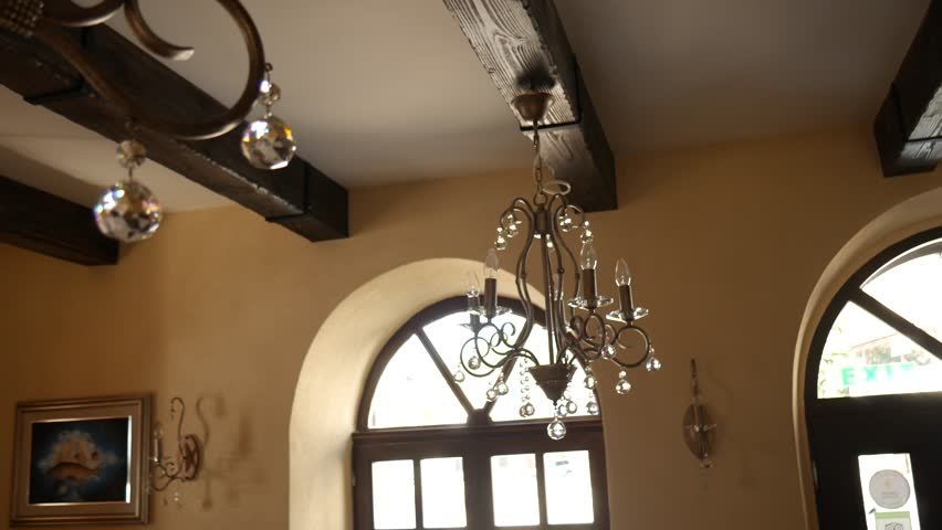 Crystal Chandelier Restaurant. The interior design of the restaurant. | Shutterstock HD Video #25420631