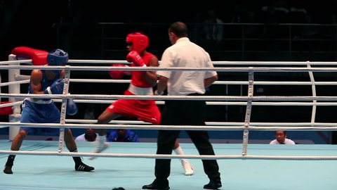 St. Petersburg, Russia, November 23, 2016 Youth World Boxing Championship men 64 kg  Boxing match RED - Lescaille Sifontes D., Cuba; BLUE-Schiopu N., Romania with sound