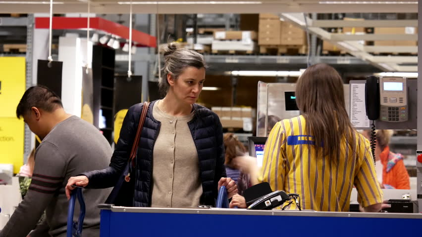 Coquitlam, BC, Canada - March 25, 2017 : One side of check out counter inside Ikea store in Coquitlam BC Canada with 4k resolution