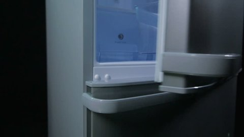 camera moves from side to fridge front and shows closing upper door on dark background in plant