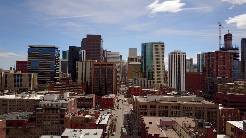 Aerial Drone View of Downtown Denver Colorado on March 28th, 2017