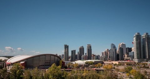 Hyperlapse of Calgary Skyline and Saddledome stadium.