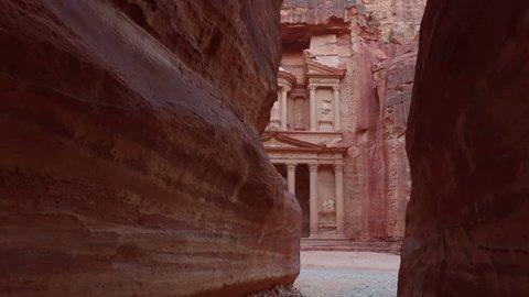 Petra - ancient city, view of Treasury from As Siq gorge. Jordan.