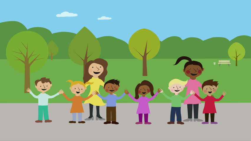Cartoon Characters Holding Hands : Happy children holding hands animated character with flat