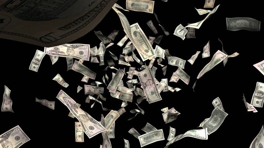 Money burst animation :  Created with hundreds, fifties, twenties,  tens and one dollar bills: alpha matte