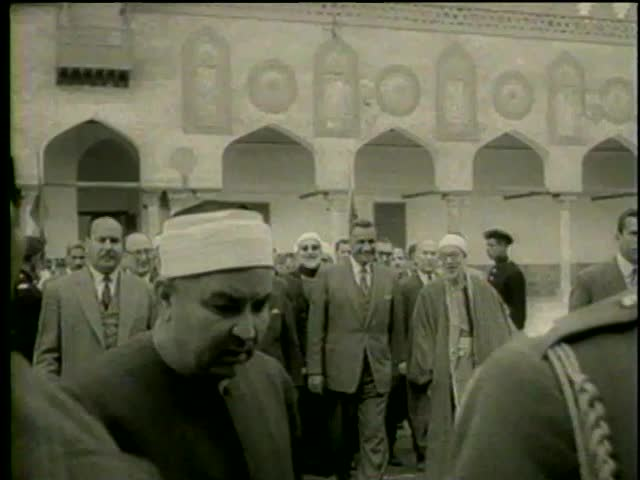 Presidents Gamal Abd Al Nasser Of Egypt And Shukri Quwatli Syria Walking During The Meeting In Cairo Circa 1958