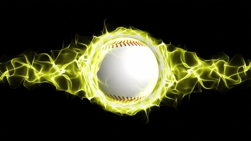 Baseballs On Blue Fire