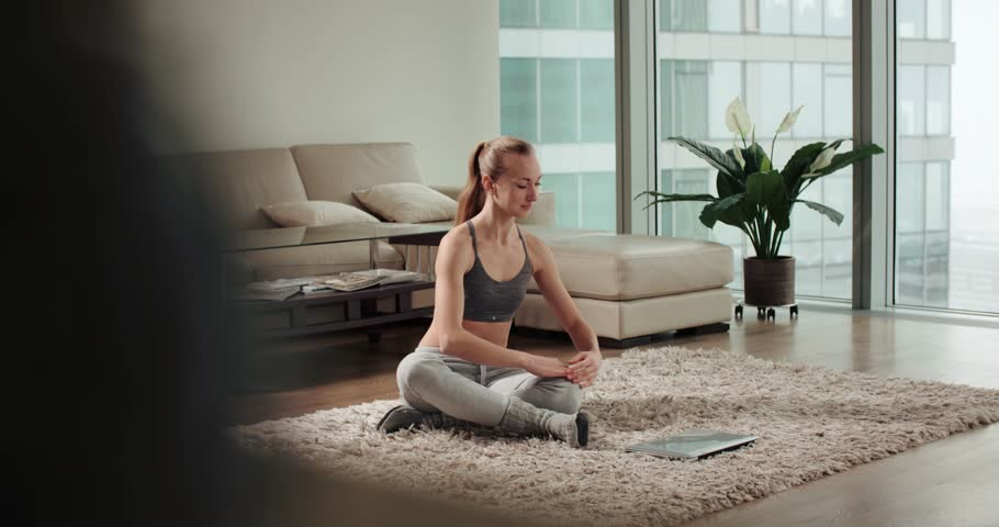 Girl Doing Yoga Trainer Online Stock Footage Video (100% Royalty-free)  25486151 | Shutterstock