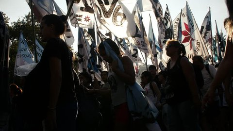 Buenos Aires, March 24th, 2017: Peronist People in a Manifestation in Argentina.