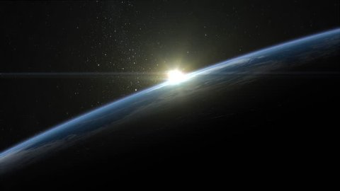 Sunrise over the Earth. Horizon littered to the right. Volumetric clouds. View from space. Beautiful starry sky. 4K.