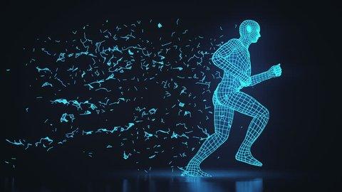 Running 3D Wireframe Man Technological Progress