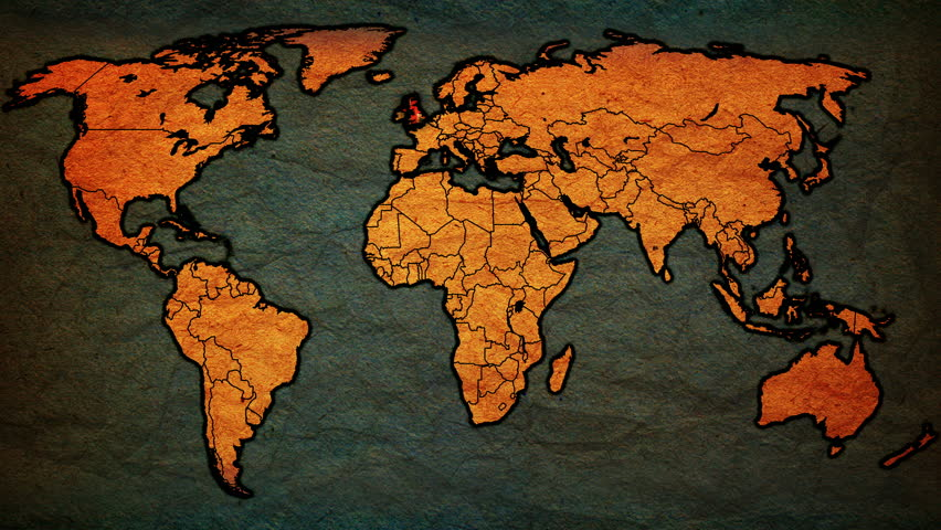 Animation of old vintage political map of world with country animation of old vintage political map of world with country territories highlighted with national flags gumiabroncs Images