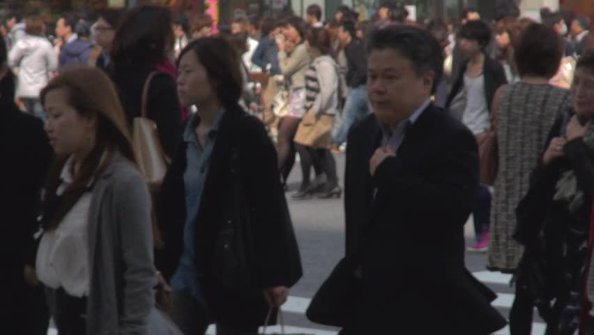 TOKYO - JAPAN, 10 APRIL 2012, Crowd of people on Shibuya pedestrian crossing