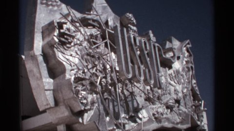 WORLDS FAIR SEATTLE 1974: a sculptural sign celebrating the former soviet russia made out of shiny material