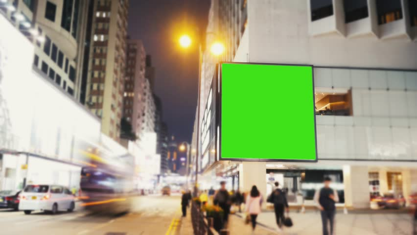 A Billboard with a Green Screen on a Evening Streets  .Time Lapse | Shutterstock HD Video #25551581