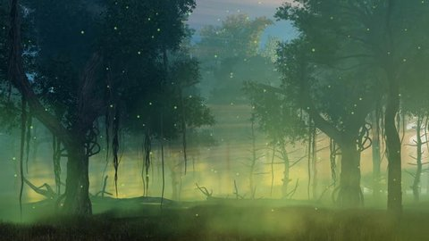 Fairytale woodland scenery with magic firefly lights flying in the air in a scary misty night forest. Cinemagraph style fantasy animation rendered in 4K