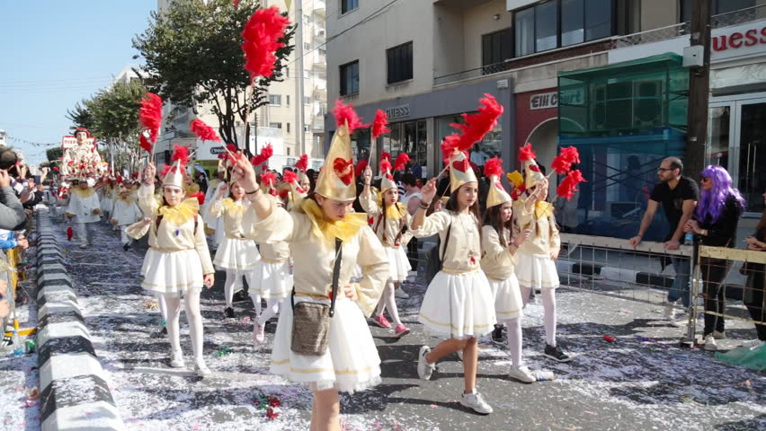 LIMASSOL, CYPRUS - FEBRUARY 26: Grand carnival parade, February 26, 2017 in Limassol, Cyprus