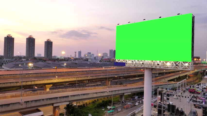 Green screen of advertising billboard and traffic on expressway of twilight in Bangkok, Thailand. time lapse.