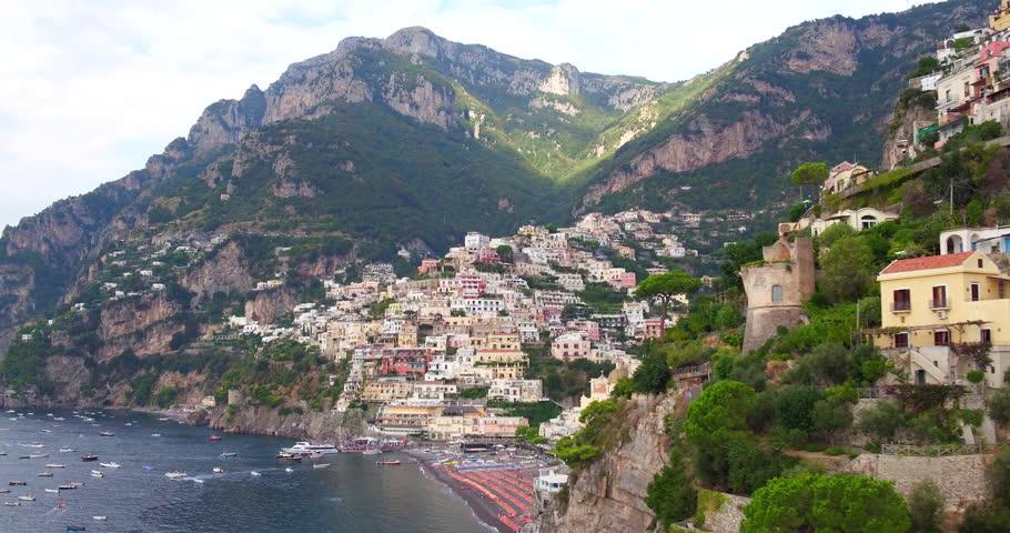 Aerial footage towards Positano village in Amalfi coast