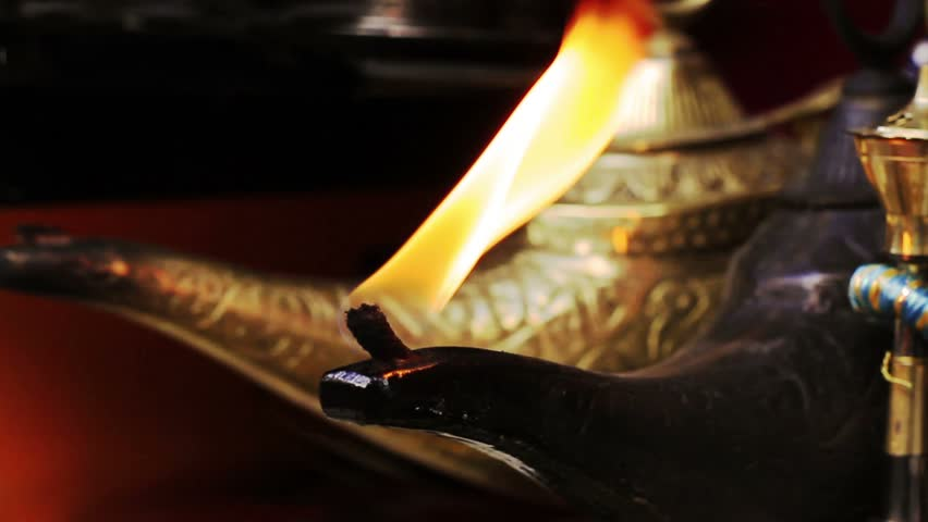 Magical Lamp of Aladdin. Arabic Oil Lamp with flames coming out of its nose.