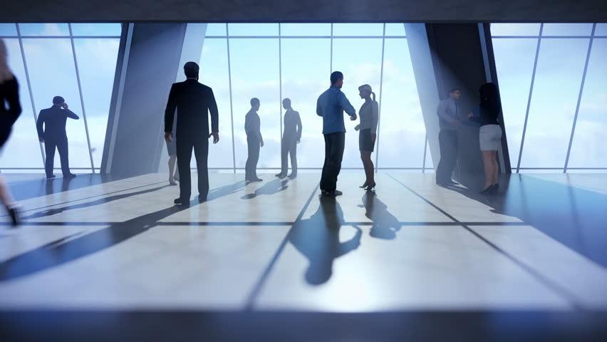 Businessmen talking, office windows above clouds | Shutterstock HD Video #25632026