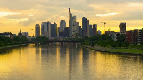 Zoom out timelapse of sunset in Frankfurt am main