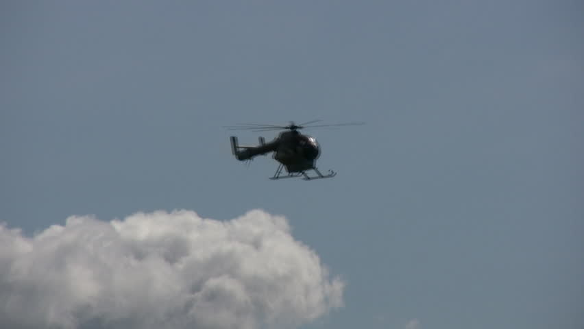 Helicopter Descending To A Small Airport For A Landing