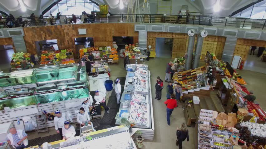 MOSCOW - JAN 18, 2017: Panorama of Danilovsky food market with sellers and customers. Aerial view | Shutterstock HD Video #25667621