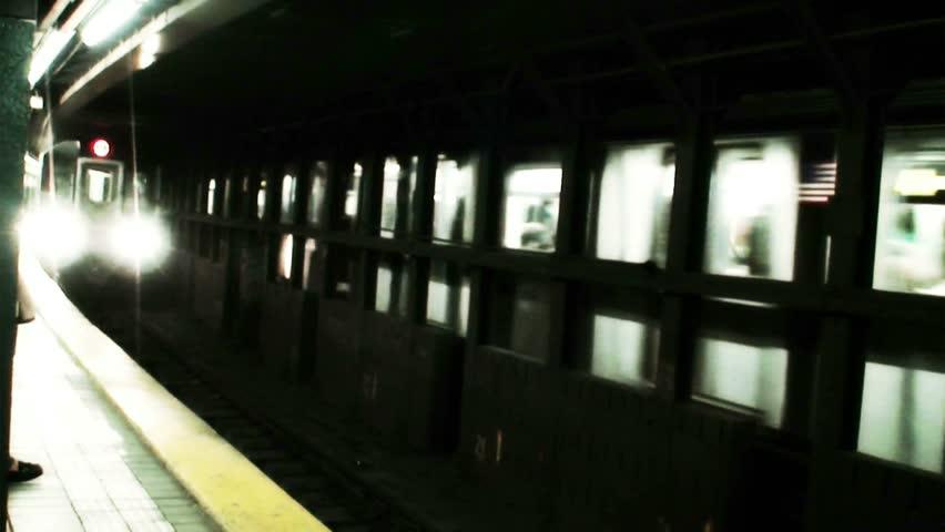New York City subway train arrival