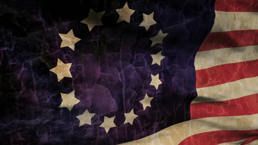 HD - American Flag 0202 - The old Betsy Ross American flag waves in the breeze (Loop).