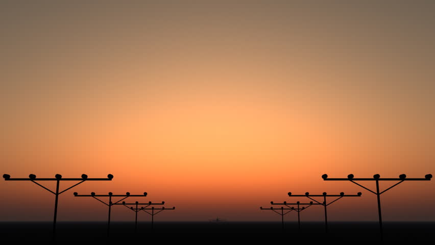 Silhouette of an airplane taking off during sunset. | Shutterstock HD Video #2570636