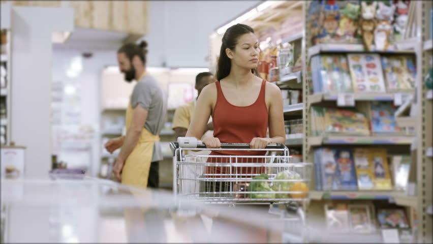4K Customer shopping in frozen food aisle of supermarket | Shutterstock HD Video #25745951