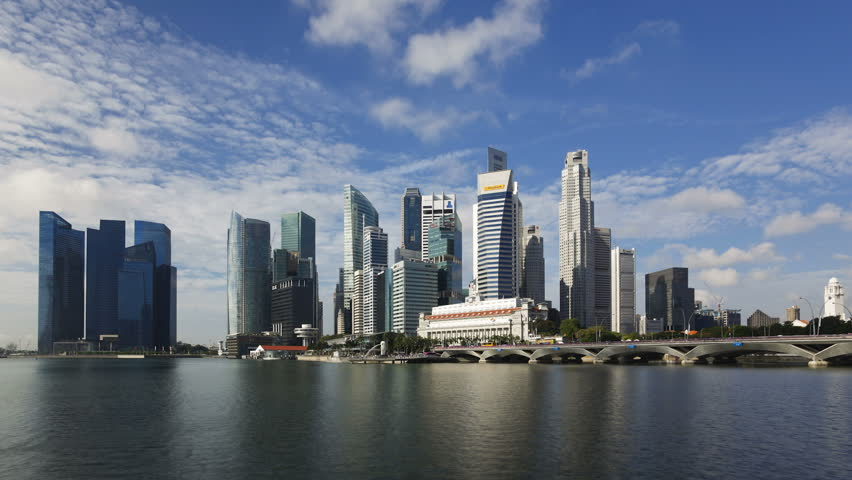 SINGAPORE - CIRCA MAY 2011: City Skyline view across Marina Bay to the Financial and Business district of Singapore.