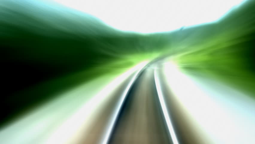 Railroad tracks in moving, SEAMLESS LOOP. Perfect for title background or logo creation.