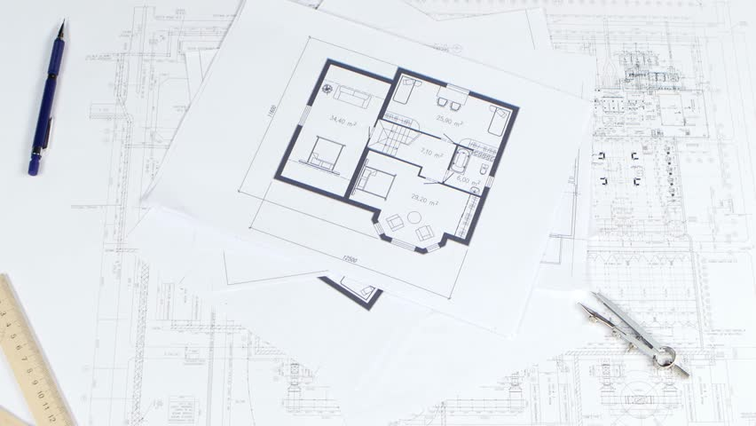 Architecture House Plan Background Paper Animation Writing