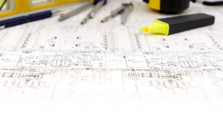 Closeup Of Detailed Building Plan Architecture Design